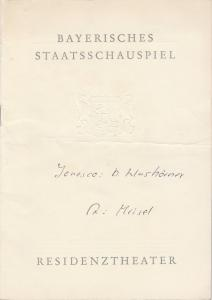 Bayerisches Staatsschauspiel, Residenztheater, Helmut Henrichs, Eckart Stein Programmheft Die Nashörner von Eugene Ionesco. Premiere 23. September 1960 Spielzeit 1960 / 61 Heft 1