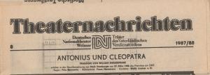 Deutsches Nationaltheater Weimar, Fritz Wendrich, Christine Schild Theaternachrichten Deutsches Nationaltheater Weimar 8 - 1987 / 88