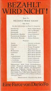 Volkstheater Rostock, Hanns Anselm Perten, Achim Gebauer, Georg Hülße Programmheft Dario Fo BEZAHLT WIRD NICHT Spielzeit 1978 / 79
