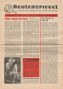 Die Herkuleskeule. Das Kabarett der Stadt Dresden, Manfred Schubert, Wolfgang Schaller Programmheft ALLES WEGEN DIE LEUT. KEULENSPIEGEL. Einmaliges Organ der Herkuleskeule