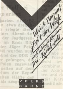 Volksbühne Berlin Rosa-Luxemburg-Platz, Fritz Rödel, Hartwig Wolfframm, Sabine Zielke, Bernd Frank Programmheft Uraufführung Ulrich Plenzdorf ZEIT DER WÖLFE Premiere 29. September 1989
