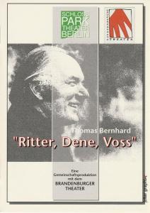 Schloßpark-Theater Berlin, Heribert Sasse, Michael Schindlbeck Programmheft Thomas Bernhard RITTER, DENE, VOSS Premiere 13. September 1996