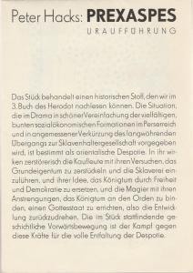 Staatstheater Dresden, Fred Larondelle, Hannes Fischer, Werner Klemke, Gerhard Piens Programmheft Uraufführung Peter Hacks PREXASPES Premiere 18. Februar 1976 Kleines Haus