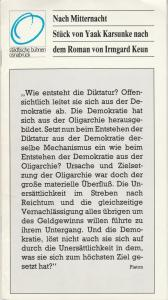 Städtische Bühnen Osnabrück, Erdmut Christian August, Wilfried Harlandt Programmheft Uraufführung Yaak Karsunke NACH MITTERNACHT Premiere 16. Februar 1982 Großes Haus Spielzeit 1981 / 82 Heft 10
