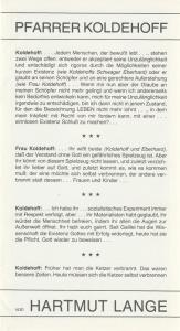 Stadttheater Bremerhaven, Walter Ruppel, Klaus Merzbacher Programmheft Hartmut Lange PFARRER KOLDEHOFF Premiere 18. Oktober 1979 Kleines Haus Spielzeit 1979 / 80 Heft 11