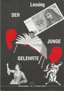 Städtische Bühnen Osnabrück, Norbert Kleine Borgmann, Michael Dischinger, Peter Biermann ( Plakatentwurf ) Programmheft Lessing DER JUNGE GELEHRTE Premiere 31. Januar 1991 emma-theater Spielzeit 1990 / 91 Nr. 6
