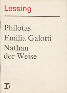 Deutsches Theater Staatstheater der DDR, Dieter Mann, Hans Nadolny, Hans-Martin Rahner, Heinz Rohoff Programmheft Lessing PHILOTAS / EMILIA GALOTTI / NATHAN DER WEISE Premiere 5. - 7. Oktober 1987