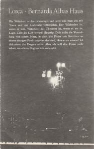 Deutsches Theater Berlin und Kammerspiele Staatstheater der DDR, Gerhard Wolfram, Maik Hamburger, Heinz Rohloff Programmheft BERNARDA ALBAS HAUS. Frauendrama aus den spanischen Dörfern von Federico Garcia Lorca 1980