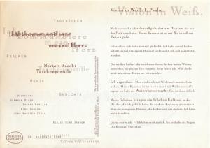 Berliner Ensemble Programmheft ICH KOMMANDIERE MEIN HERZ Bertolt Brecht Taschenpostille Premiere 28. November 1998