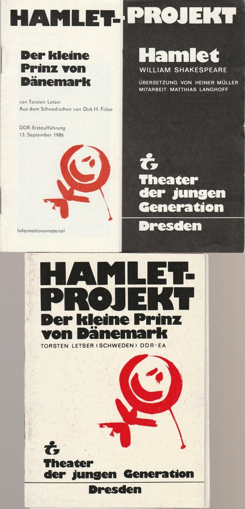 Theater der Jungen Generation, Gunild Lattmann, Doris Kepper, Manuel Schöbel, Axel Richter Programmheft Hamlet Projekt. Spielzeit 1986 / 87 Heft Nr. 1 und 2 0