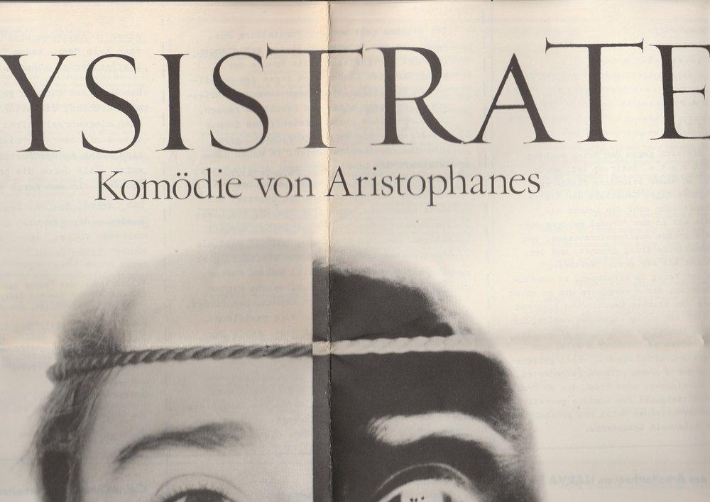 Volksbühne Berlin, A. Beyer, Eckhardt Bogda Programmheft LYSISTRATE. Komödie von Aristophanes Arbeitertheater NARVA Ausgezeichnetes Volkskunstkollektiv 0