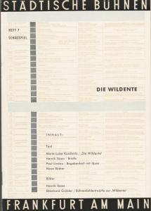 Städtische Bühnen Frankfurt am Main, Harry Buckwitz, Günter Skopnik, Otfried Büthe, Rudi Seitz Programmheft Henrik Ibsen DIE WILDENTE Kleines Haus Spielzeit 1960 / 61 Heft 7