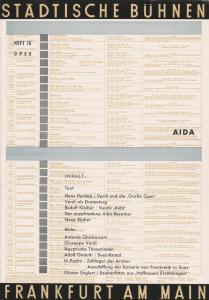 Städtische Bühnen Frankfurt am Main, Harry Buckwitz, Günter Skopnik, Rudi Seitz Programmheft Giuseppe Verdi AIDA Spielzeit 1954 / 55 Heft 10