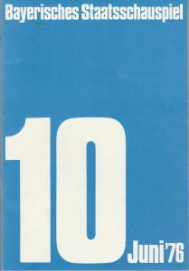 Bayerisches Staatsschauspiel, Kurt Meisel, Jörg-Dieter Haas, Rosemarie Schultz, Claus Seitz, Gül Oswatitsch, Jean-Marie Bottequin Programmheft Thomas Bernhard DER PRÄSIDENT Premiere 4. Juni 1976 Residenztheater Juni 1976 Heft 10