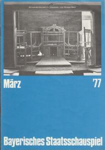 Bayerisches Staatsschauspiel, Kurt Meisel, Jörg-Dieter Haas, Claus Seitz, Gül Oswatitsch, Jean-Marie Bottequin Programmheft William Shakespeare MACBETH Premiere 6. März 1977 Residenztheater Heft März 1977