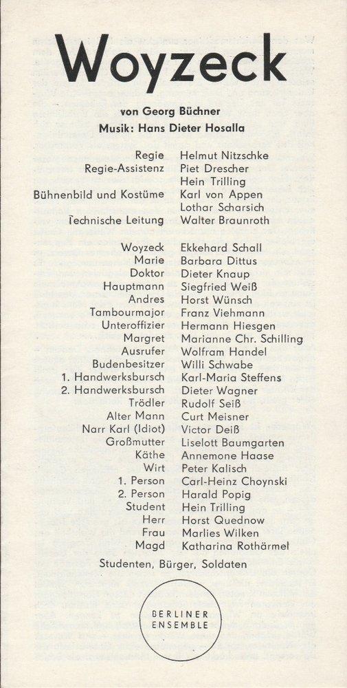 Berliner Ensemble, Helene Weigel Programmheft Georg Büchner WOYZECK Premiere 4. November 1970 0