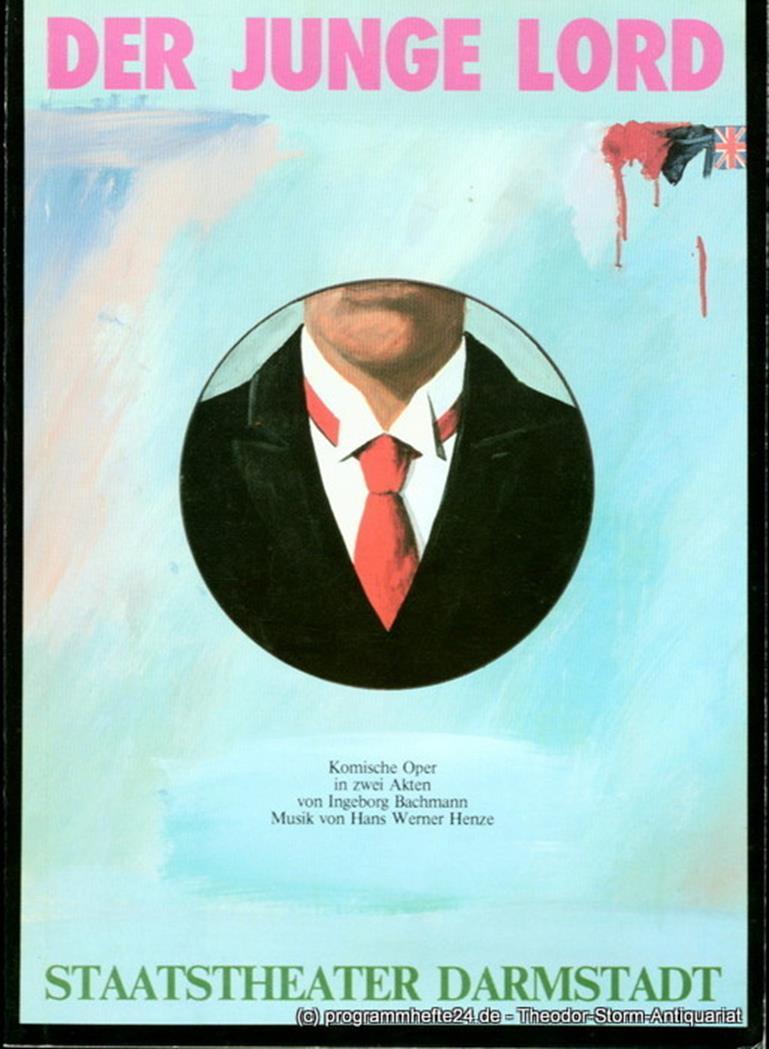 Staatstheater Darmstadt, Peter Brenner, Ludwig Baum Programmheft Der junge Lord. Komische Oper von Ingeborg Bachmann. Premiere 16. September 1984. Programmbuch Nr. 3 0