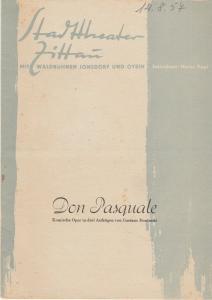 Stadttheater Zittau, Heinz Vogt, Hubertus Methe, Manfred Grund Programmheft Gaetano Donizetti DON PASQUALE 1957