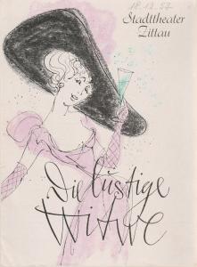 Stadttheater Zittau, Hubertus Methe, Regina Hoiland-Cunz Programmheft Franz Lehar DIE LUSTIGE WITWE Spielzeit 1957 / 58