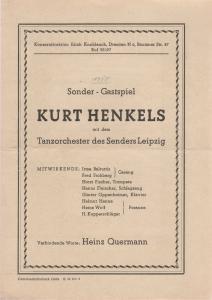 Konzertdirektion Erich Knoblauch Programmheft KURT HENKELS mit dem Tanzorchester des Senders Leipzig 1950