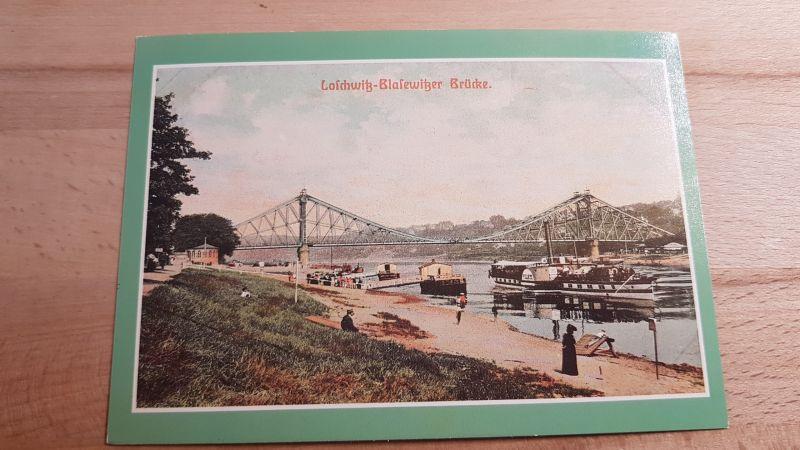 DDR Postkarte Loschwitz Blasewitzer Brücke Raddampfer Pillnitz 0