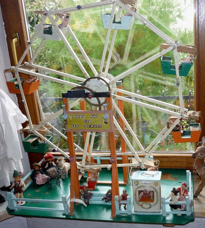 großes, antikes Riesenrad für Puppenstuben-Puppen, einmalige Dekoration für Schaufenster, Ausstellungen usw.