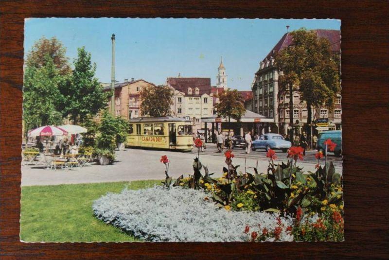 8900 AUGSBURG, Königsplatz mit Strassenbahn / Tram, Oldtimer
