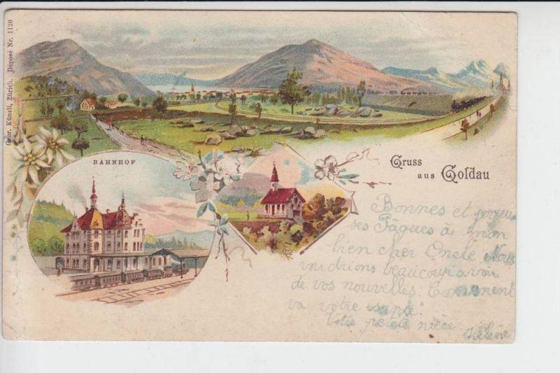 CH 6410 GOLDAU - Lithographie - 3-teilig, 1920 in Belgien verwendet