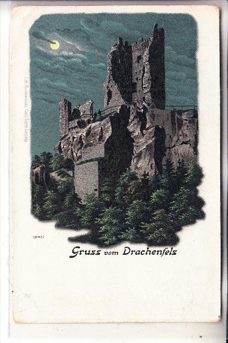 5330 KÖNIGSWINTER, Gruss vom Drachenfels, Lithographie, ca. 1905