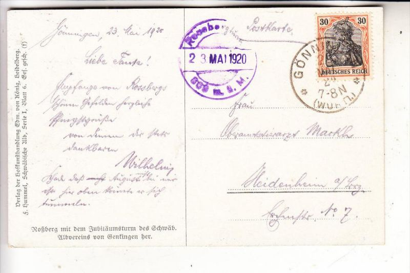 Künstler Reutlingen 7410 reutlingen gönningen roßberg künstler karte f hummel 1920