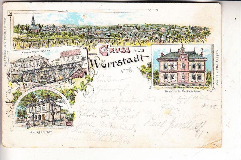 6501 WÖRRSTADT, Lithographie, 1897, 4-Ansichten, kl. Eckmangel