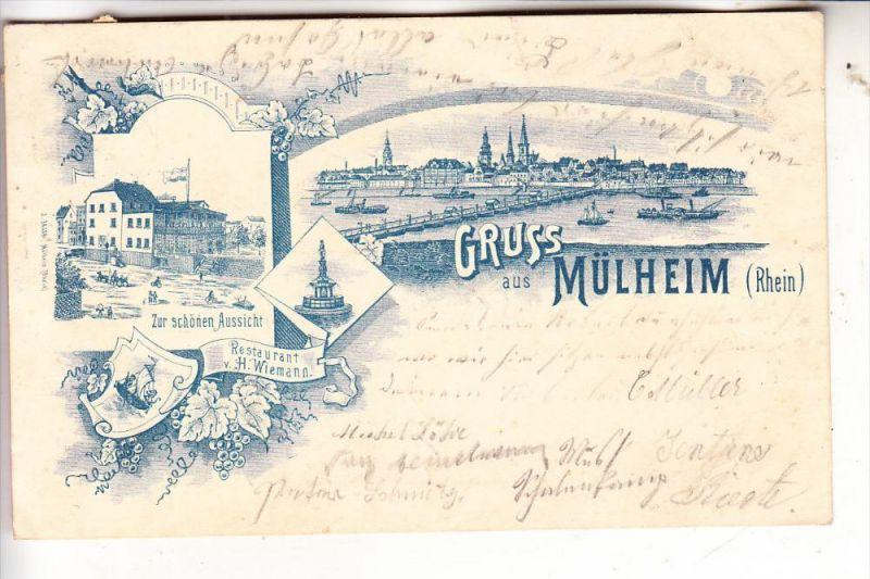 5000 Koln Mulheim Lithographie 1898 Restaurant Zur Schonen