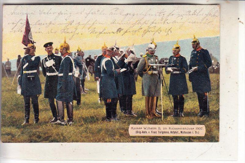 MONARCHIE - DEUTSCHLAND, Kaiser Wilhelm II, kaisermanöver 1907, Mühlhausen/Thüringen, color