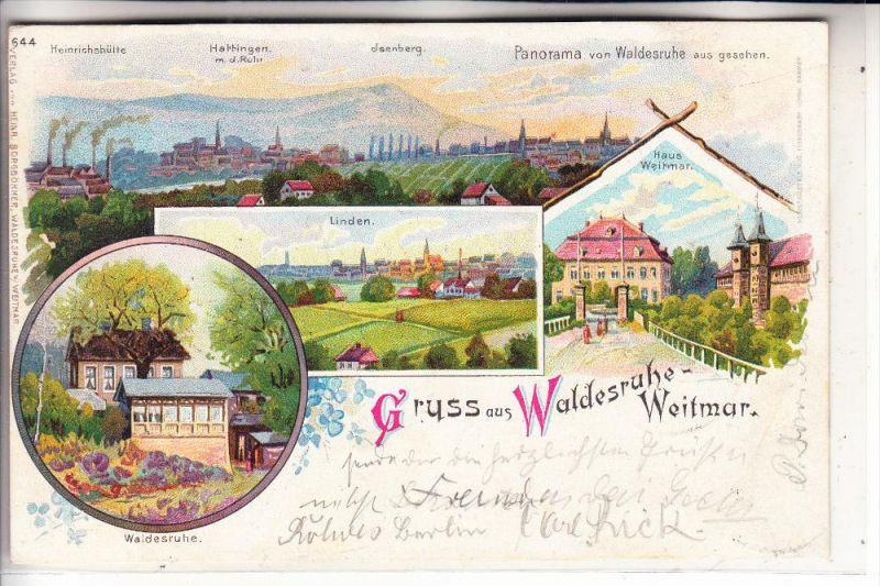 4630 BOCHUM - WEITMAR, Gruss aus.. Lithographie, 1901, Waldesruh, Haus Weitmar, Linden, Panorama v. Waldesruh