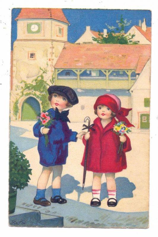 KINDER - Künstler - Karte FRITZ BAUMGARTEN, Zwei Mädchen mit Blumen, Meissner & Buch, Serie 2986