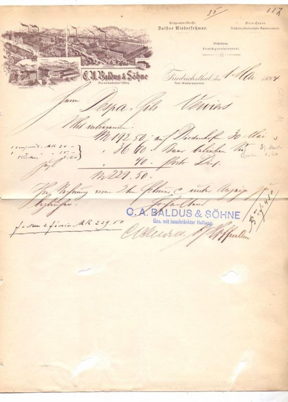 5270 GUMMERSBACH - NIEDERSESSMAR, Firmenbriefkopf, Fa. Baldus & Söhne, Friedrichsthal, 1894