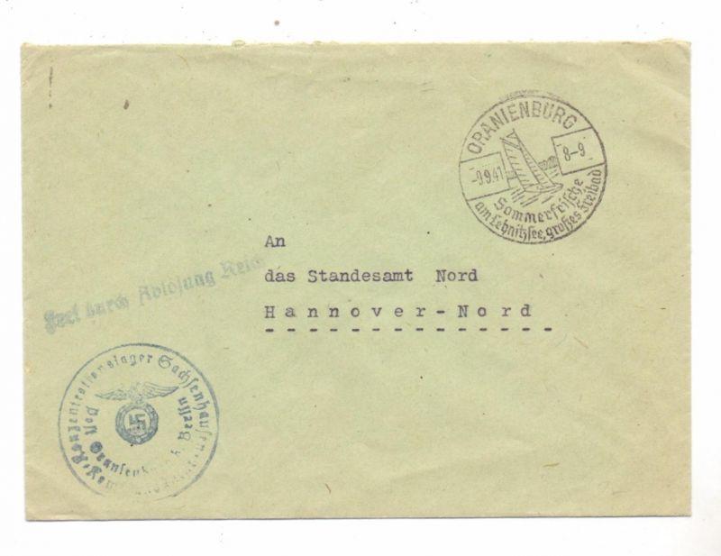 DEUTSCHES REICH -Dienstpost KZ Oranienburg - Sachsenhausen, Kommandant an Standesamt Hannover, 1941