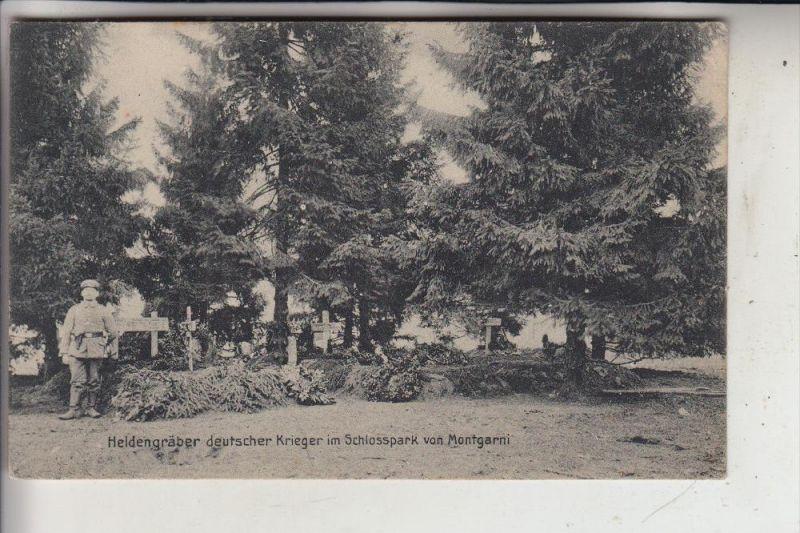 MILITÄR - 1.Weltkrieg, Heldengräber deutscher Krieger im Schlosspark von Montgarni, 1916, Deutsche Feldpost