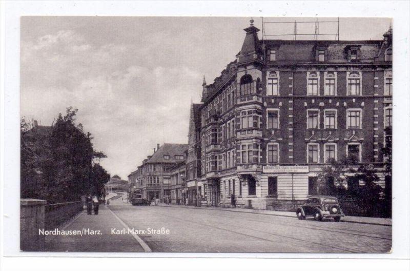 0-5500 NORDHAUSEN, Karl-Marx-Strasse, Bühnen der Stadt Nordhausen, Strassenbahn