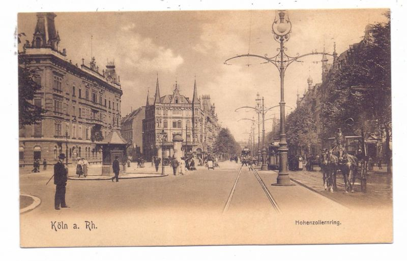 5000 KÖLN, Hohenzollernring, Strassenbahn, Kutsche, belebte Szene, ca. 1905