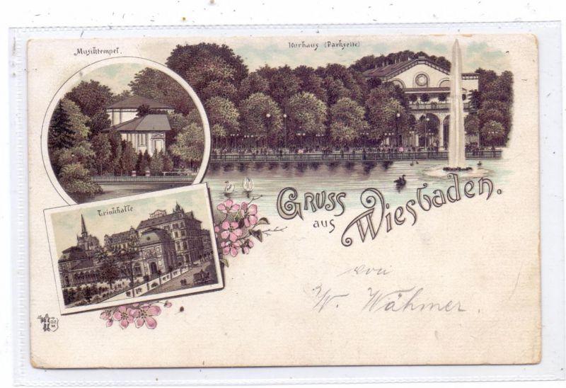 6200 WIESBADEN, Lithographie 1894, Kurhaus, Trinkhalle, Musiktempel, frühe Karte
