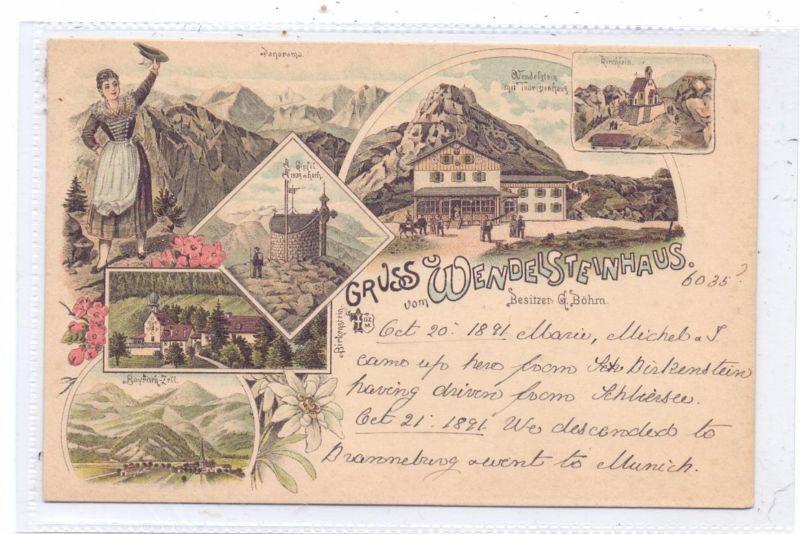 8163 BAYRISCHZELL, Wendelsteinhaus, 6-teilige Lithographie 1891, sehr frühe Karte
