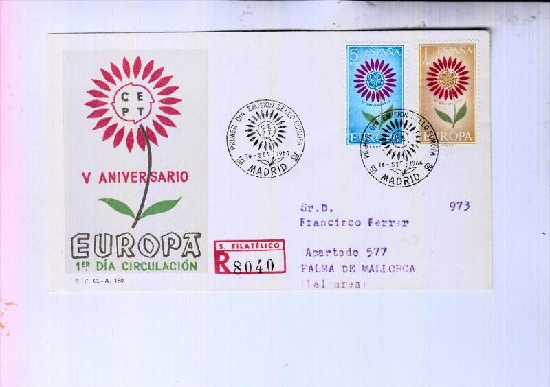 ESPANA / SPANIEN - EUROPA 1964 FDC, R-Letter