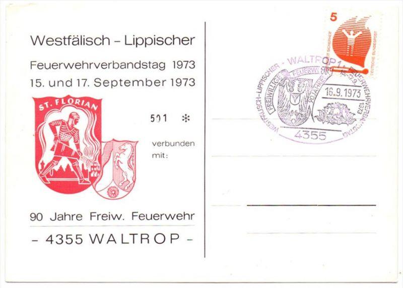 BERUFE - FEUERWEHR - Feuerwehrverbandstag Waltrop 1973, Sonderpostkarte & - stempel
