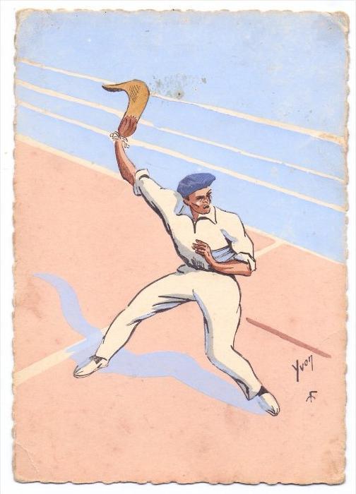 SPORT - PELOTE BASQUE, Künstler-Karte 1950, kl. Druckstelle