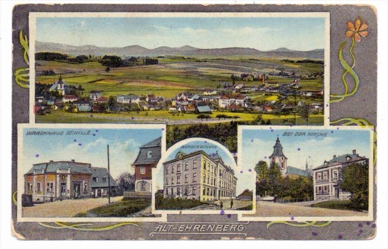BÖHMEN & MÄHREN  - ALT - EHRENBERG / STARE KRECANY, Warenhaus, Bürgerschule, Kirche, Panorama