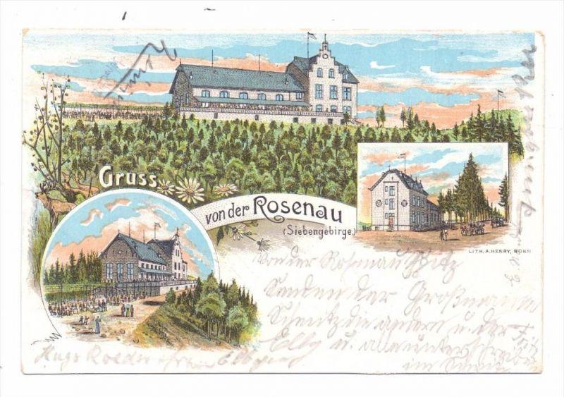 5330 KÖNIGSWINTER - ROSENAU, Gruß von der Rosenau, Lithographie, 1898