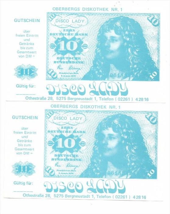 BANKNOTEN - 10 DEUTSCHE MARK, Diskotheken Gutschein, 2 Stück