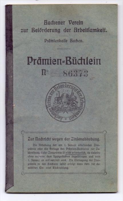 5100 AACHEN, Prämien-Büchlein, Aachener Verein zur Förderung der Arbeitsamkeit, 1905, im Folder 0