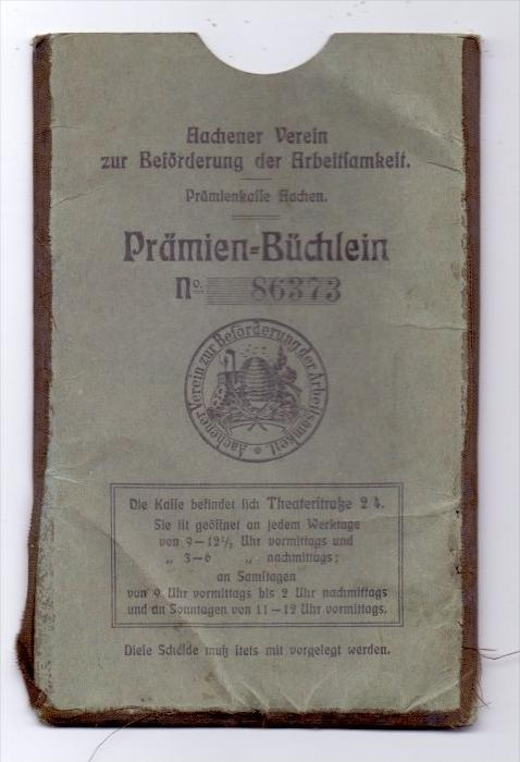 5100 AACHEN, Prämien-Büchlein, Aachener Verein zur Förderung der Arbeitsamkeit, 1905, im Folder 1